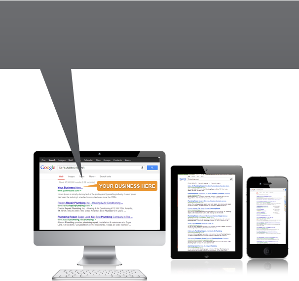 Image of devices showing search results