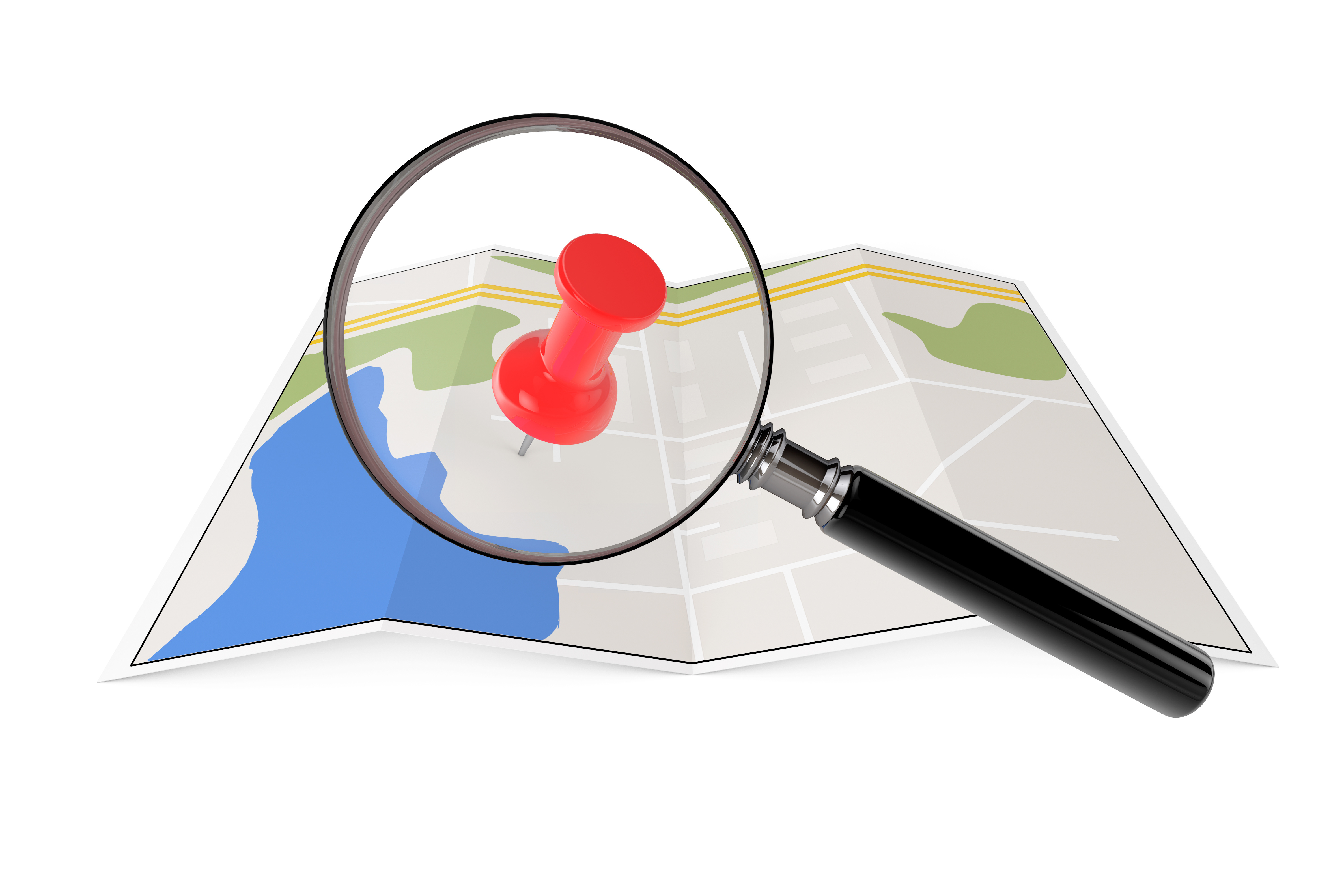 Abstract Paper Map with Magnifying Glass