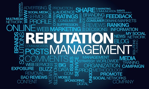 Reputation management web e-reputation fame words tag cloud blue text
