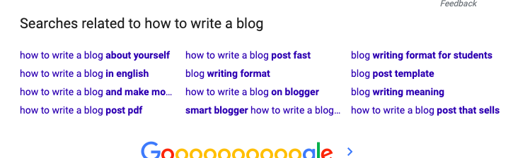 Google search that says Searches related to how to write a blog